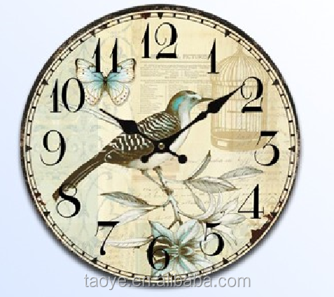 Unique clock wood board painting for wall decor wood clock painting