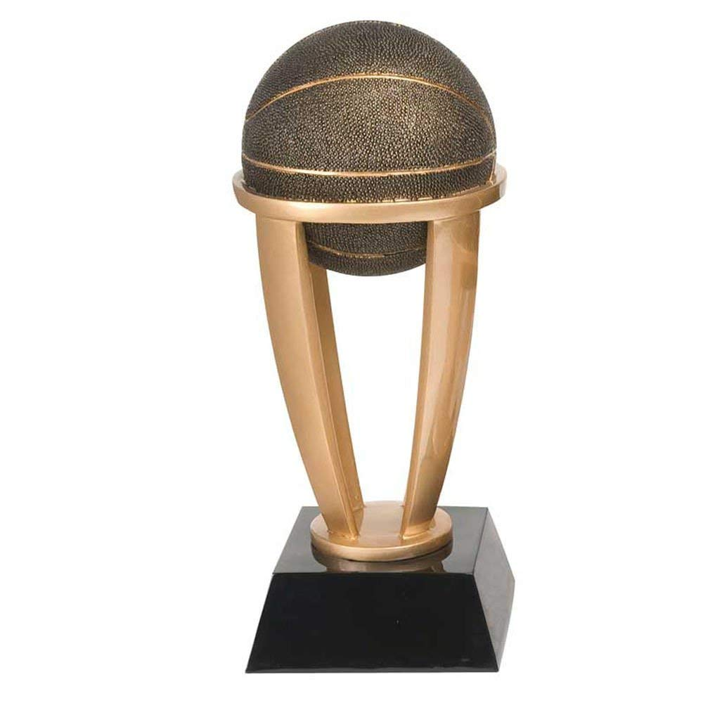 """Basketball Gold Tower Award - 13"""" 10.75"""" 7.5"""" Tall - Black Base - Personalized & Engraved plate included - Decade Awards"""