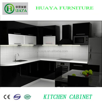OEM Modern Style Black PVC Kitchen Cabinet with glass door