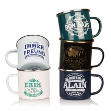 Vintage Bunte Sublimation oder Logo druck <span class=keywords><strong>Benutzerdefinierte</strong></span> Camping Emaille Becher