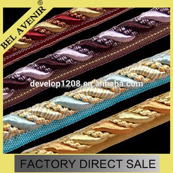 Purple Gold Decorative Lip Cord Curtain Upholstery Trim Braided