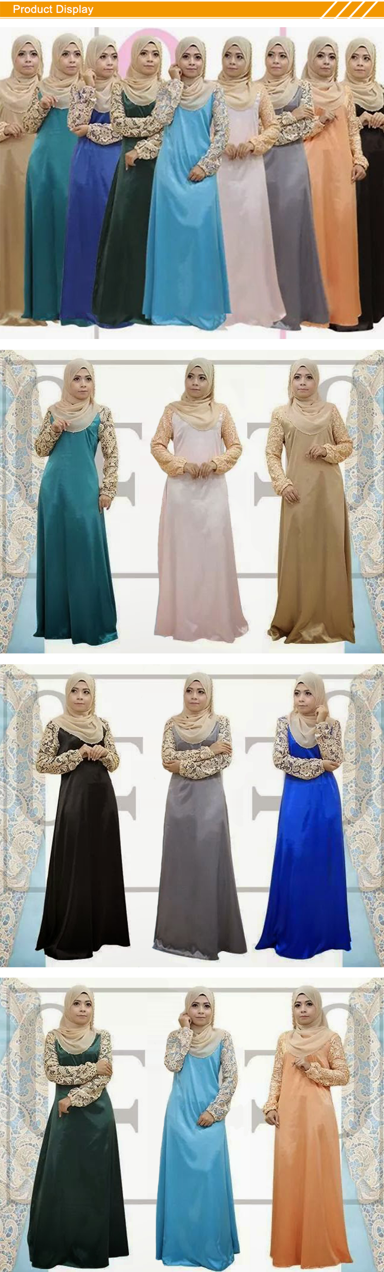Md A034 grosir muslim maxi dress thailand kualitas tinggi renda + satin maxi dress muslim gaya busana muslim maxi dress