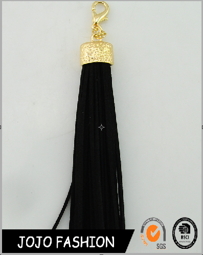 Factory supply cheap leather fringe tassel keychain wholesale key chain