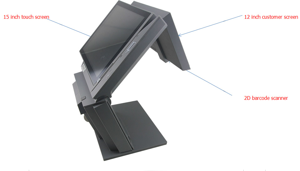 """15""""+12"""" wholeset dual screen desktop pos machine system with pos software"""