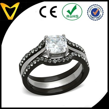 Best Quality Alibaba Hot Fashion Wedding Ring His Hers 4 Pcs Black Ip