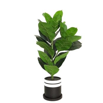Artificial Rubber Tree Potted Plant With Decorative Pot 68cm Tall At T07016