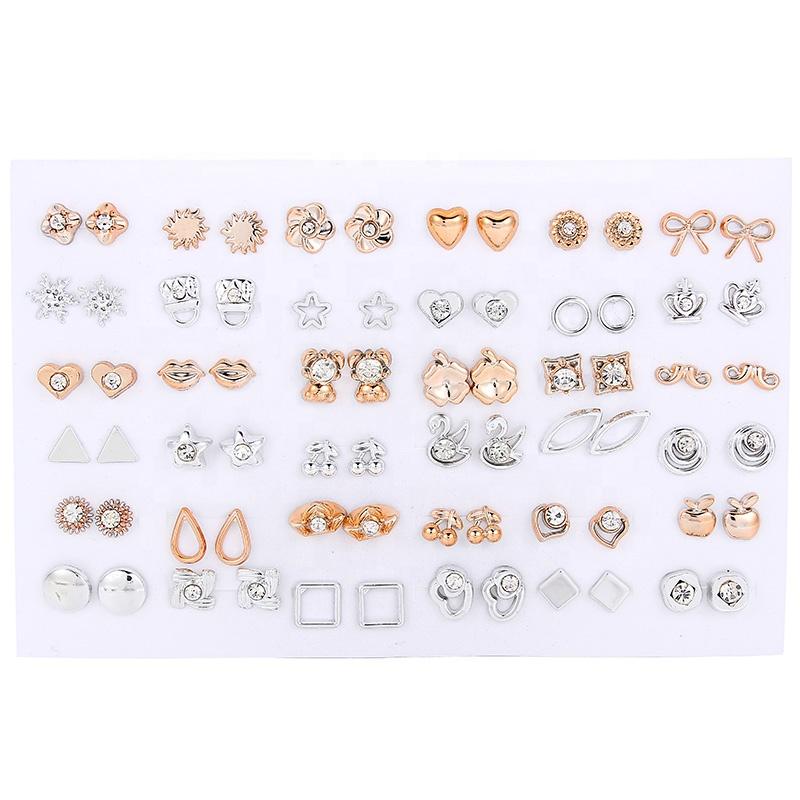 36 pares de diamantes de imitación dorados y plateados de colores flores de oso lindo animales mezcla de estilo Stud juego de pendientes para mujeres joyas para niñas