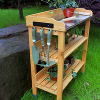 Ningbo FIr Outdoor Wooden Garden Bench for flower pot