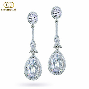 Exquisite Clear Cz Chandelier Dangling Bridal Earrings
