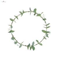 Artificial Silver Dollar Eucalyptus Leaves Wire Wreath for Hanging Decor