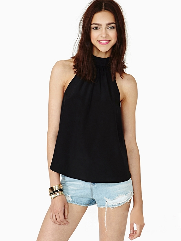 2c8ad027dea Buy Plus Size Casual Sleeveless Turtleneck Halter Neck Shirt Ladies Loose  Strapless Chiffon Blouse New Novelty Black  Pink in Cheap Price on  m.alibaba.com