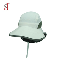 Sun Shade Cap Neck Cover Nylon Fishing Cap Face Cap Back Flap Hat Military Hat With String
