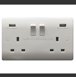 British Standard- White VN Range 13A 2 gang switched socket+(1A+2.1A) USB outlet+neon,single pole