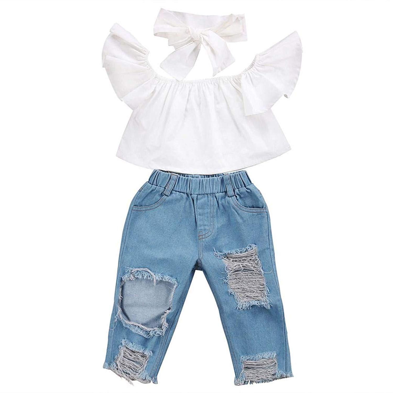 bea8b889c2 Get Quotations · Off Shoulder Crop Tops + Hole Denim Pant Jean Headband  Kids Clothes