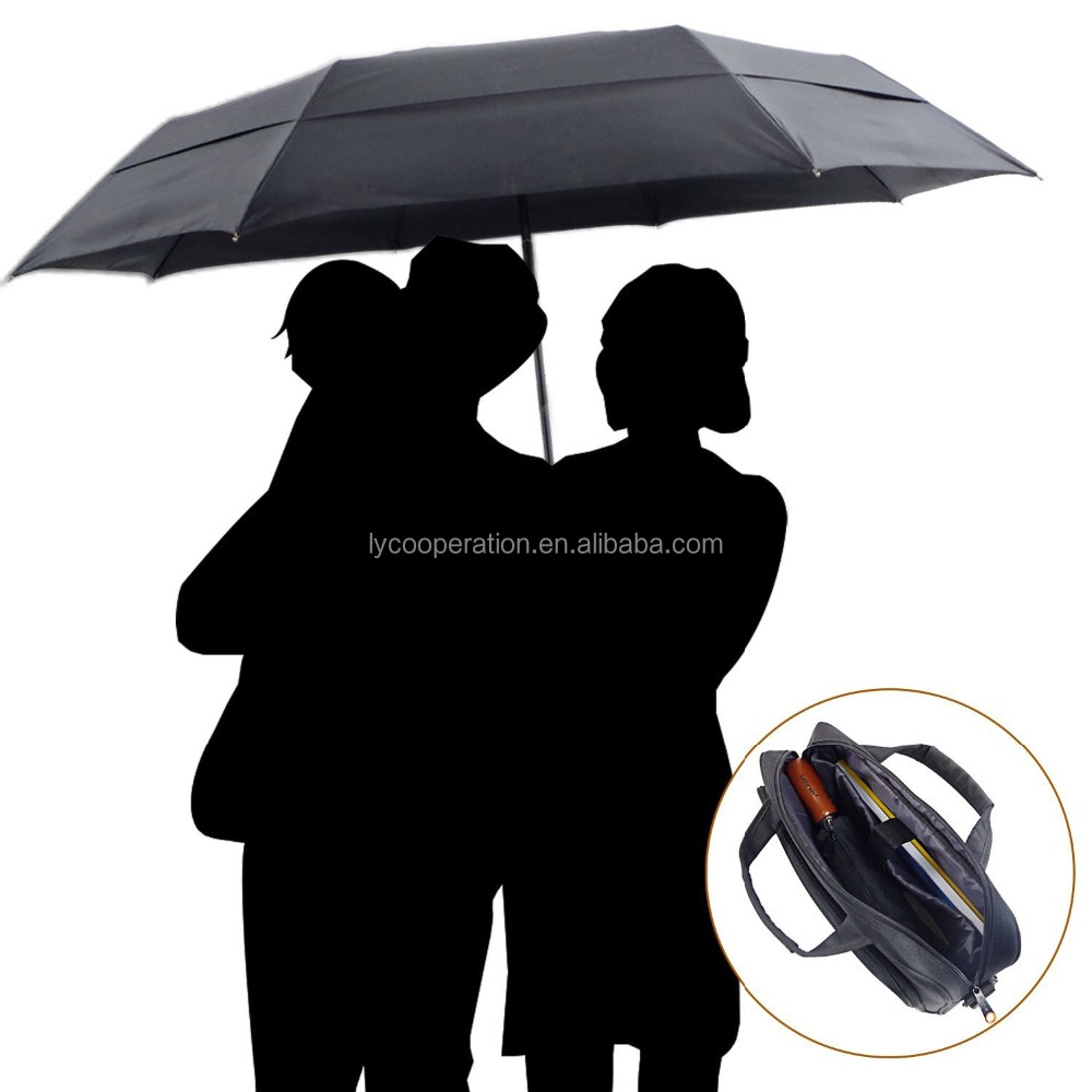 Auto Large Folding Umbrella with Windproof Double Layer and Teflon-Coated Fabric,Compact Travel Umbrellas for Family,Wood Handle