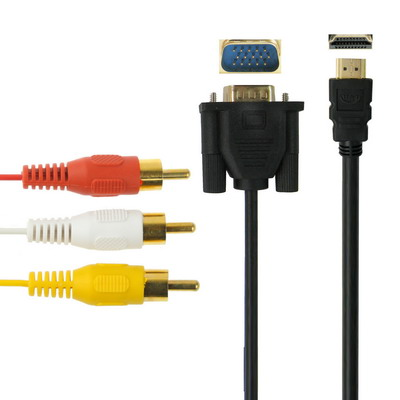 Big stock HD MI to VGA HD15 and Video/Audio Cable, Length: 1.8m (Gold Plated)