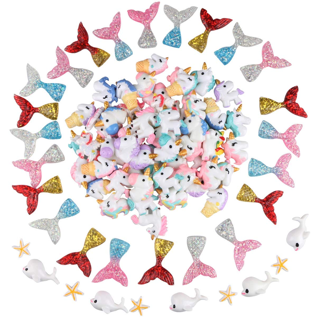 Yoodelife 110 Pcs Slime Charms Resin Flatback Slime Beads with Unicorn Mermaid Tail Dolphin Starfish Pieces for DIY Crafts, Scrapbooking Embellishments