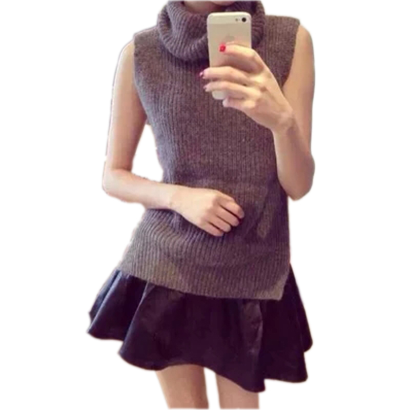 Autumn Sleeveless Pullover Turtleneck Knitted Sweater Women Sweaters And Pullovers Loose Winter Sweater Female