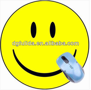 Round Smail Face Yellow Rubber Fabric Mouse mat Coaster