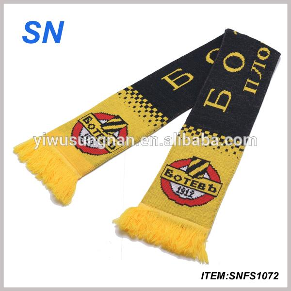 custom design knitted soccer scarf