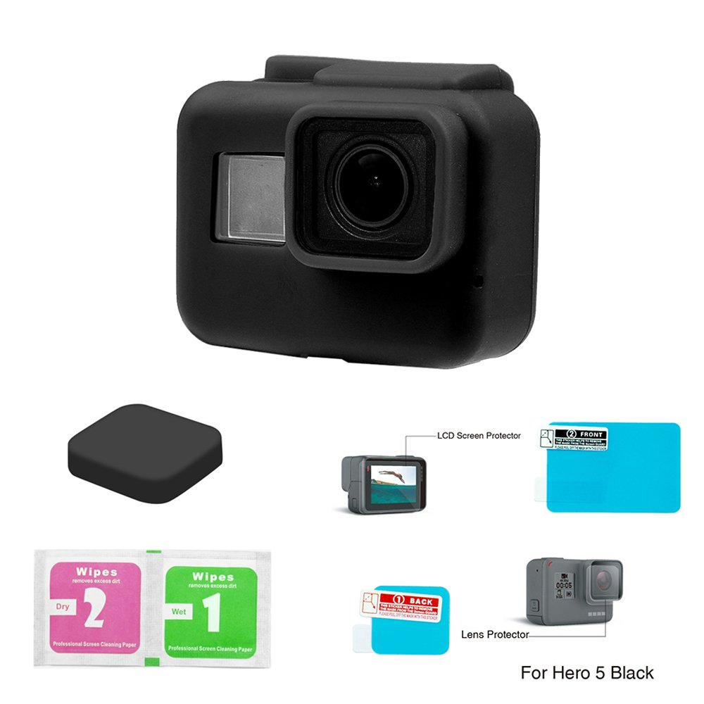 Somate Black Gopro Hero 5 Protective Silicone Housing Case + Lens Cover+LCD Protector + Cleaning Wipes 4 Items