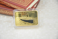 Metal Gold Bullion Bar Titanic Souvenir Gold Bar In Memory Of Titanic Victims 1OZ Gold Layered.999