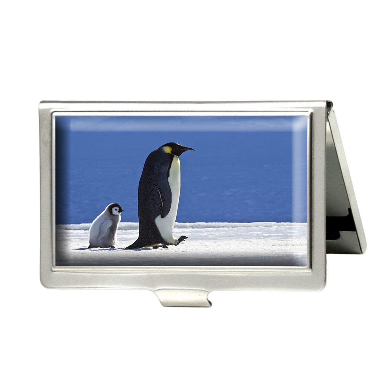 Caikem Emperor Penguin And Chick Custom Personalized Stainless Steel Silver Business Card Holder Pocket Business Name Credit Card ID Card Wallet