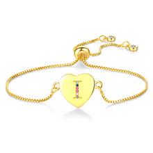 Многоцветный Регулируемый браслет с инициалами CZ браслет с буквами именной, буква браслет ювелирные изделия для женщин аксессуары девушка(Китай)