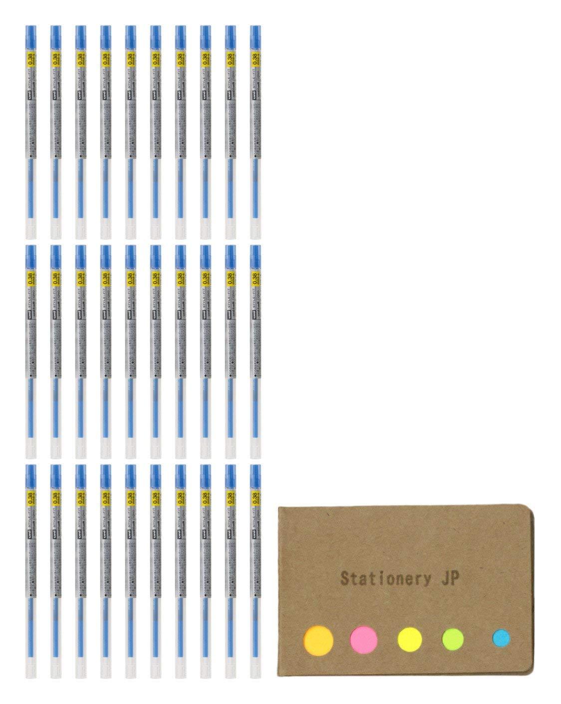 Uni-ball Signo Gel Ink Refills for Uni Style Fit Gel Multi Pen 0.38mm Blue Ink, 30-pack, Sticky Notes Value Set