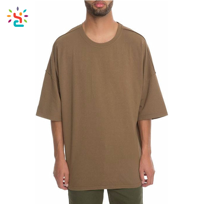 Wholesale drop shoulder tee men oversized blank t shirts half sleeve crew neck mens poly cotton box tee