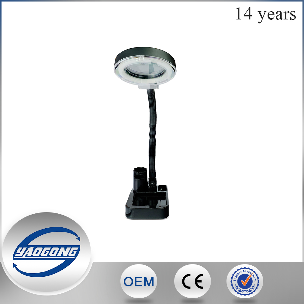 hot sale acrylic led light magnifying led glass table lamp 808 with compass magnifying glass lamp