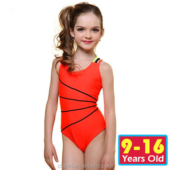 lines simple orange color beach wear children 9 to 16 year old girls swimsuit bikini kids