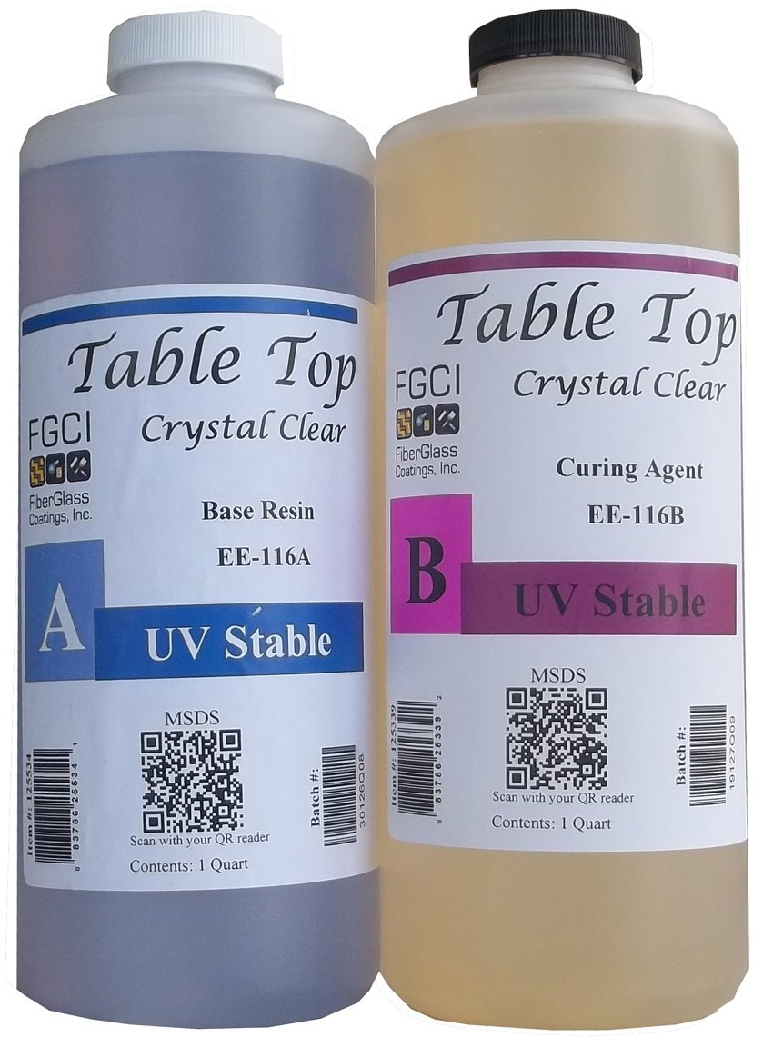 Epoxy Table Top Resin, 1:1, 2 Quart Kit, Crystal Clear, Parts A & B Included