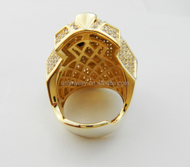 Hot Sale Tiger Head Shape Gold Plated Men Finger Ring With Micro
