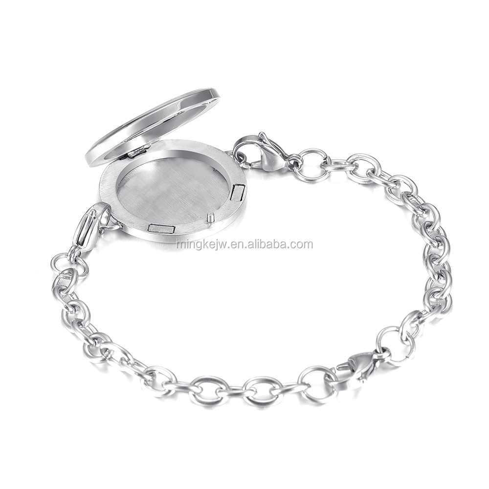 IJDL3018 Cheap Wholesale 30mm Running horse Diffuser Locket Bangle&Bracelet Stainless Steel Essential oil aromatherapy bracelet