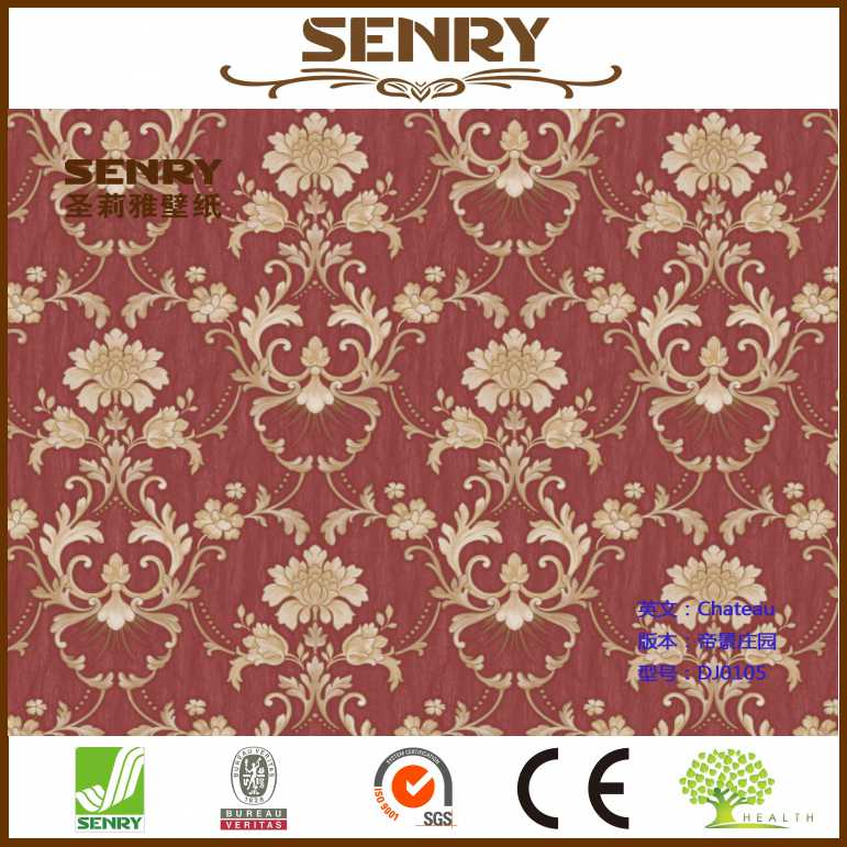 waterproof sticker red wallpaper ps wall panel for thai restaurant decoration