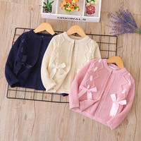 S52221A Sweet cotton round neck girl sweater children's cardigan
