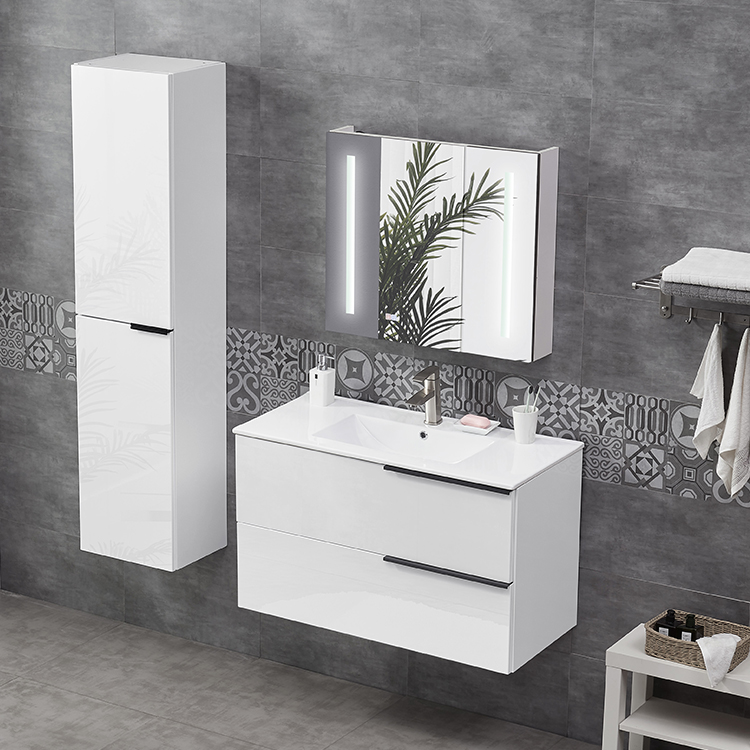 High Gloss White Wall Mounted Vanity Bathroom Cabinet For Europe Product On Alibaba