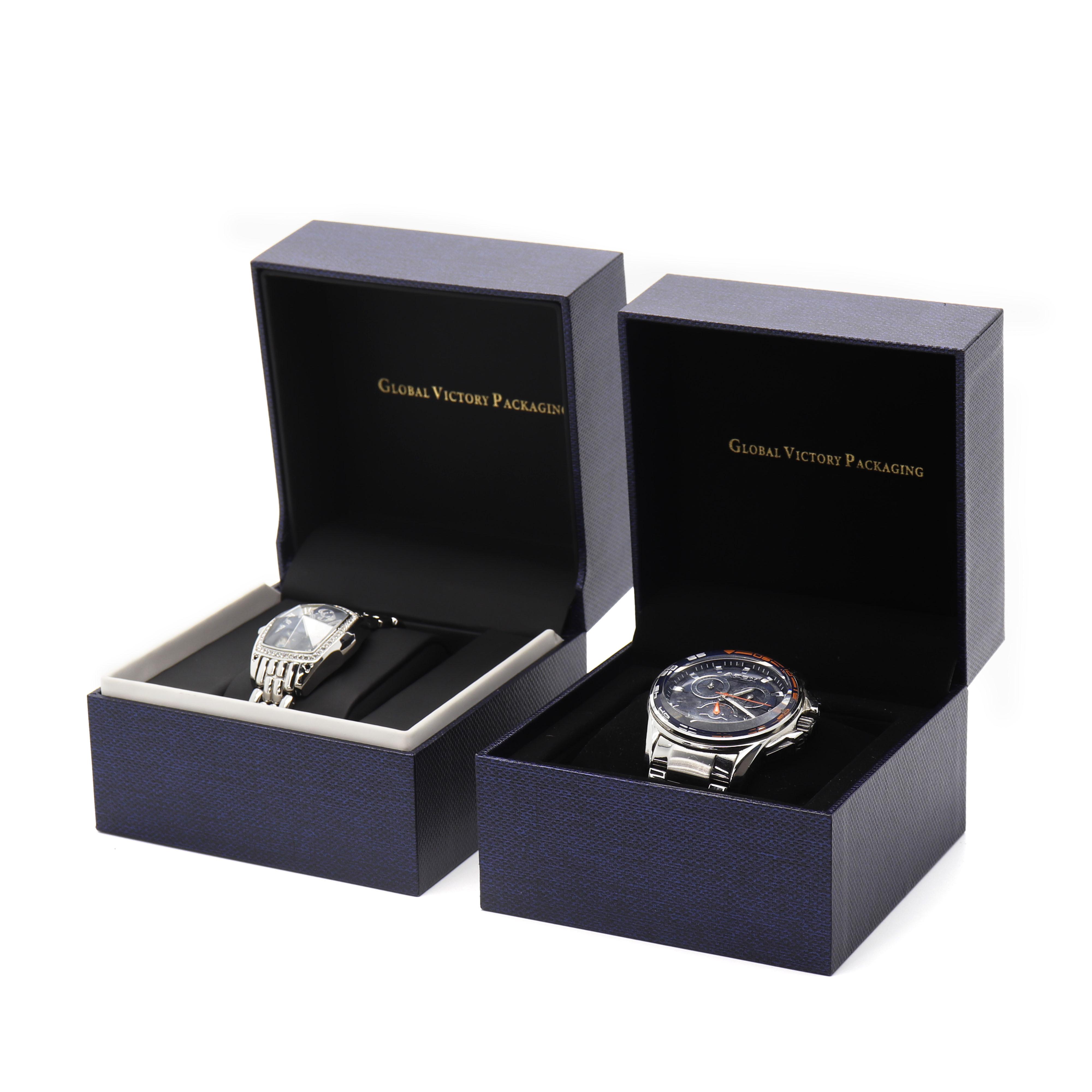 卸売紺紙の時計ギフトボックスカスタムロゴ腕時計ボックス高級