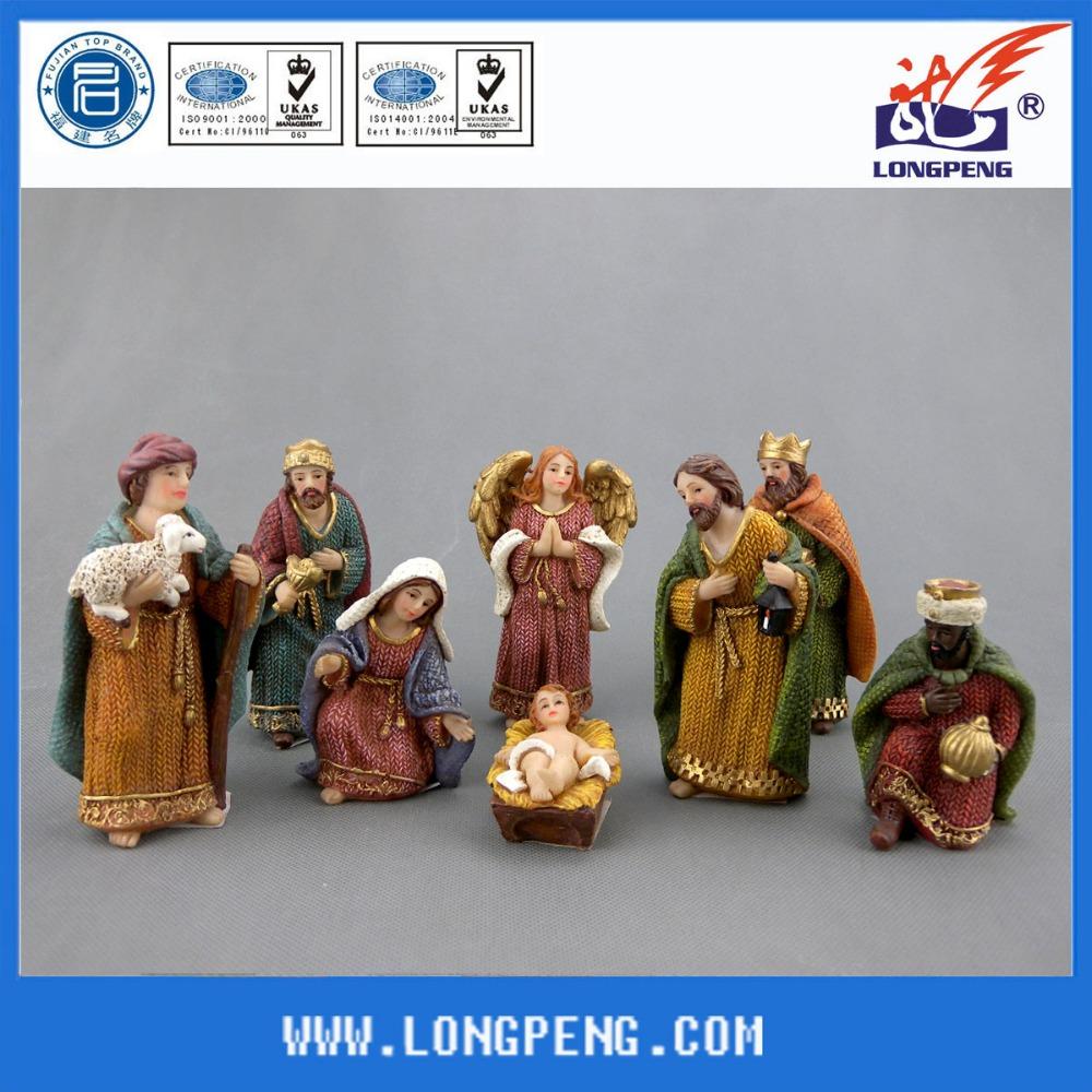 Chinese leverancier beeldjes polyresin kerststal katholieke religieuze beelden hars kerststal - Geloof hars ...