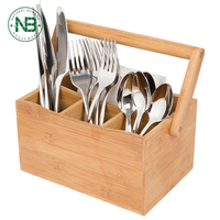 Home & Kitchen Bamboo 4 Compartment Utensil Flatware Cutlery Caddy Holder with Handle