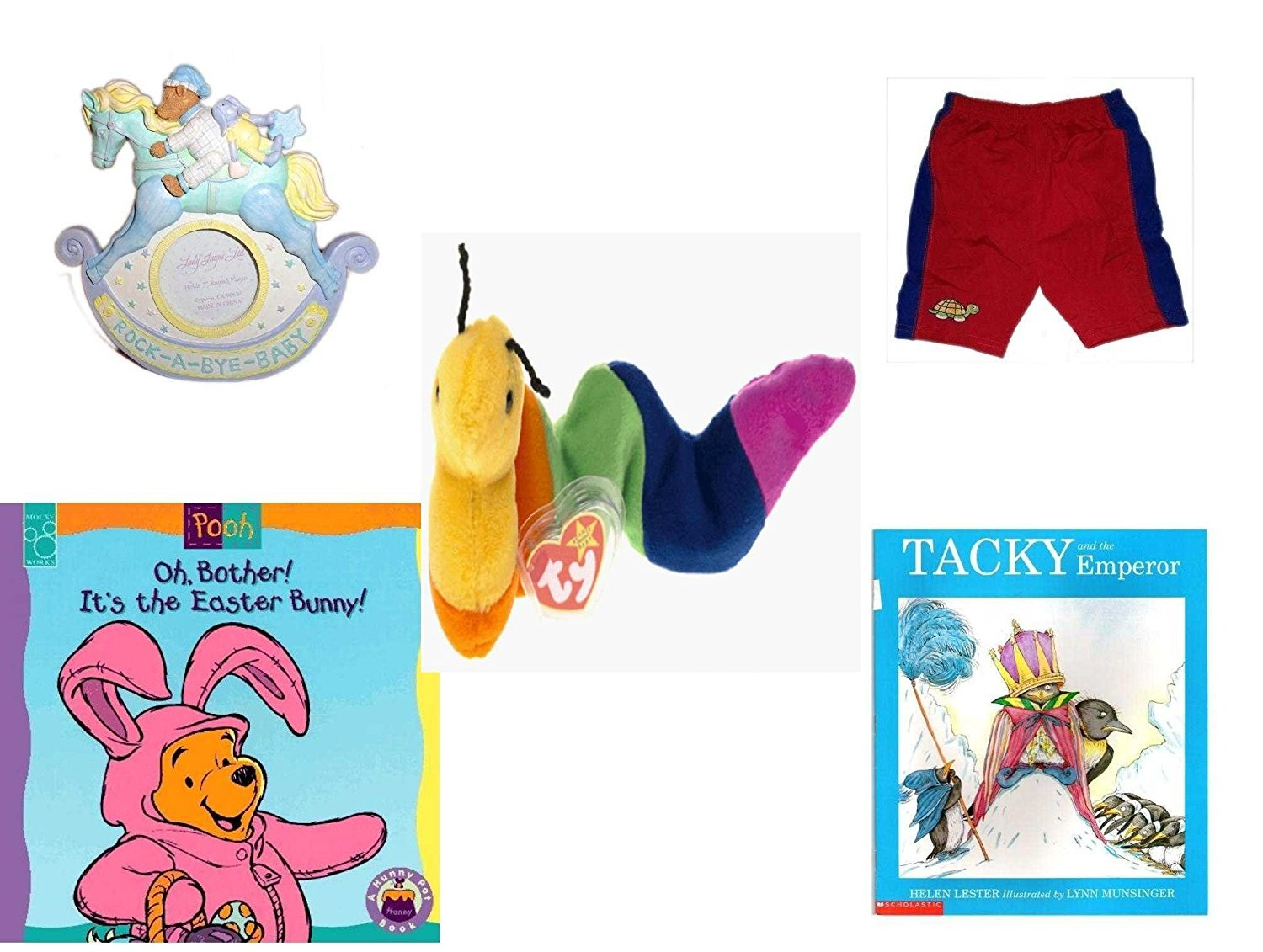 "Children's Gift Bundle - Ages 0-2 [5 Piece] - Rock-A-Bye-Baby - Rocking Horse Photo Frame 3"" Round - Circo Infant Boys Swim Shorts Gator Red/Blue Size S 6 Months 13-18 lbs - TY Beanie Baby INCH the"