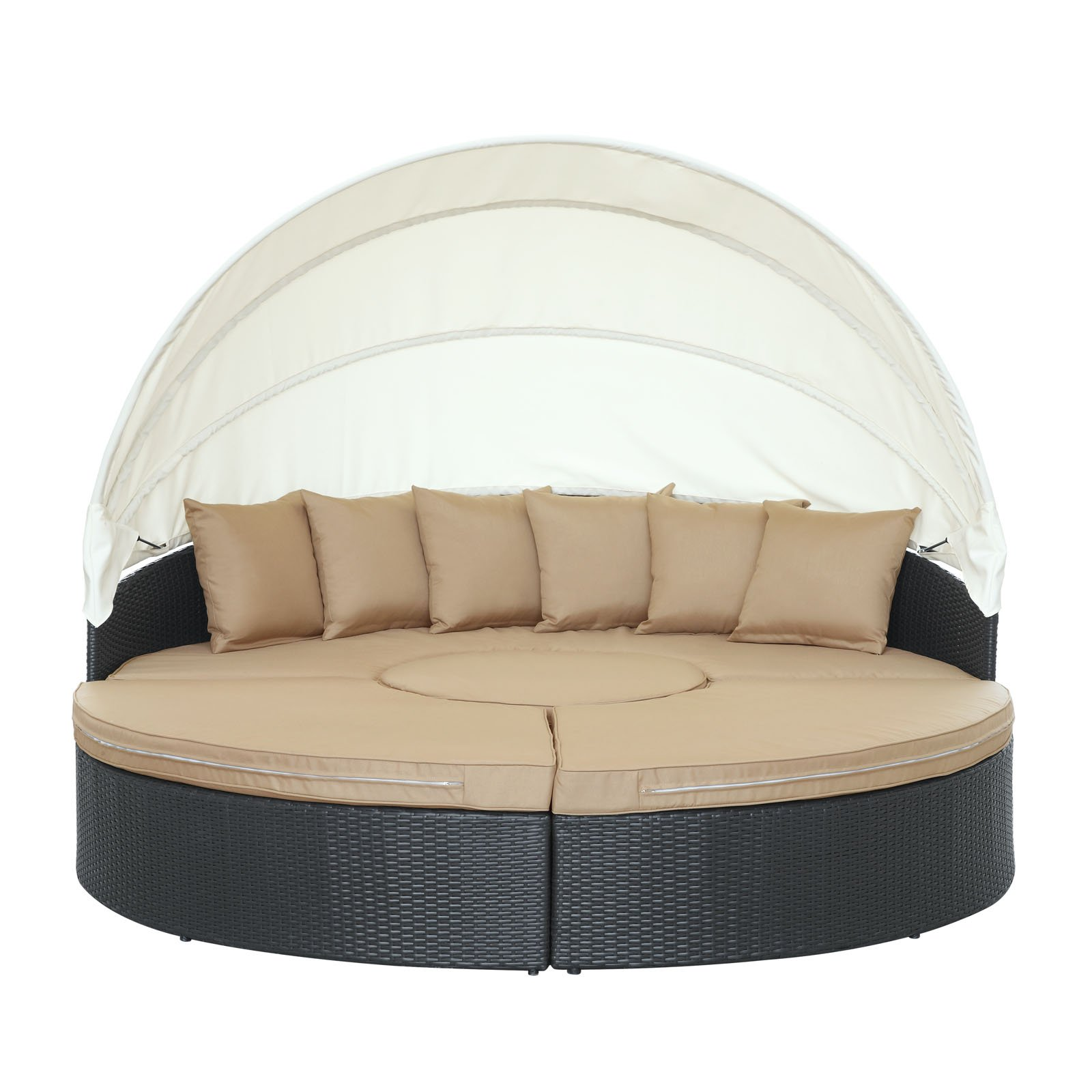 Modway Quest Circular Outdoor Wicker Rattan Patio Daybed with Canopy in Espresso Mocha