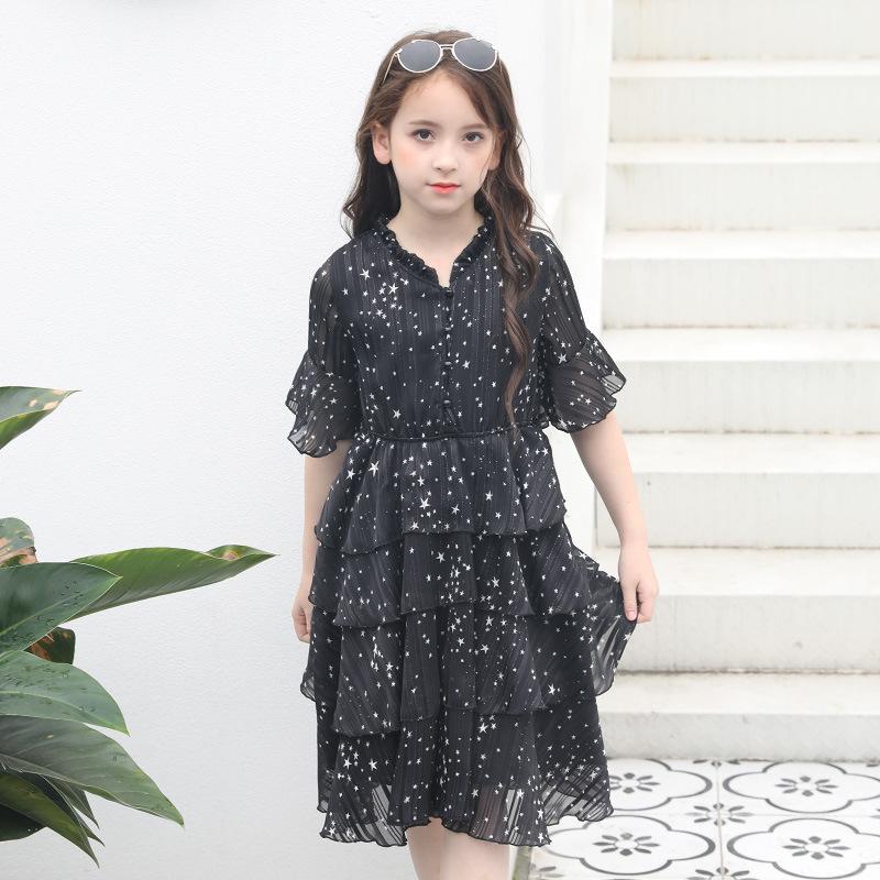 e0e7560f7452e Büyük kızlar yaz elbiseler siyah elbise şifon gevşek kız prenses elbise  çocuk giyim toptan