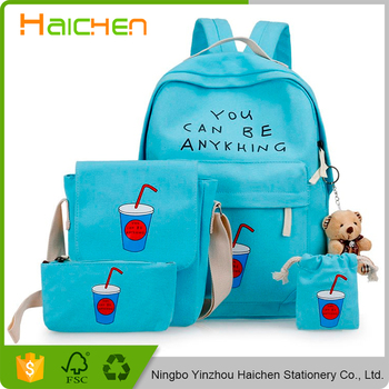2017 Fashion Printing Backpack Women Canvas Laptop Rucksack Brands Book Bags For Agers 6pcs Set