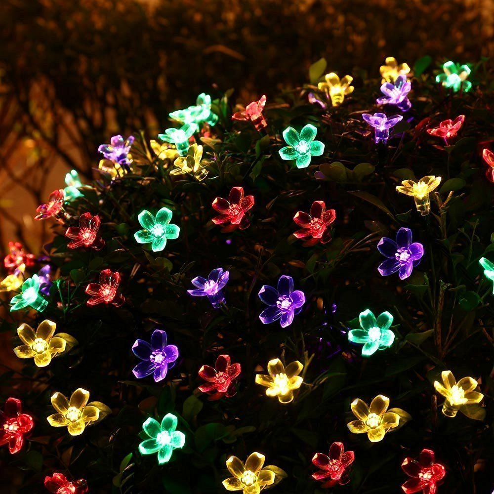 get quotations bc blossom solar string lights 50 led cherry flower outdoor solar powered lights for christmas