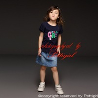 New Summer Girls Clothing Set With Navy Tops and Denim Skirt 2 Pcs Set Baby Everyday Clothing CS30719-11