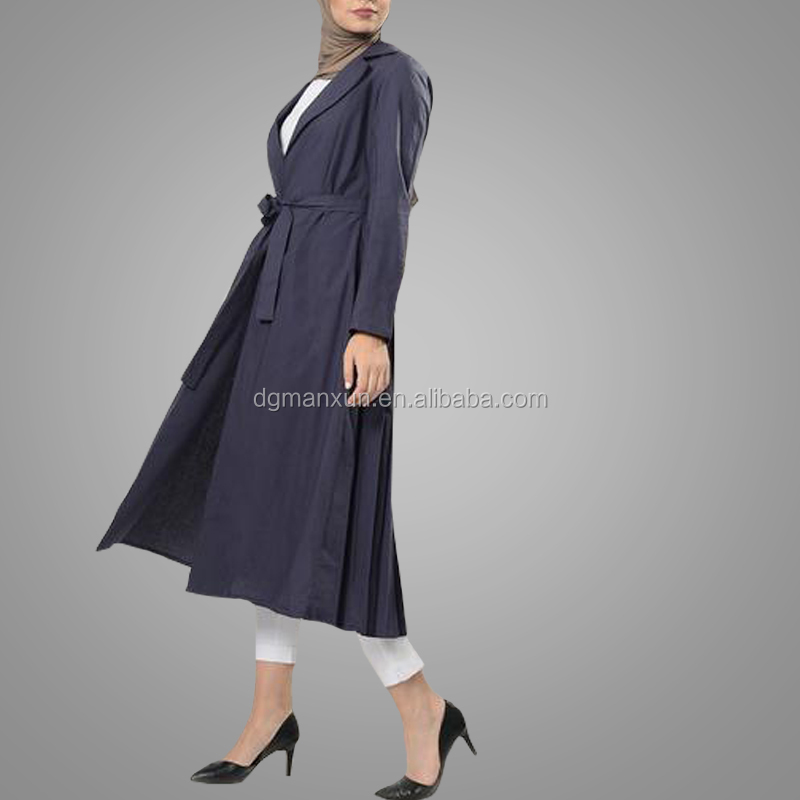 Modest Style Solid Notched Collar Shrug Abaya Long Sleeves Maxi Dress Muslim Women Kaftan Islamic Clothing