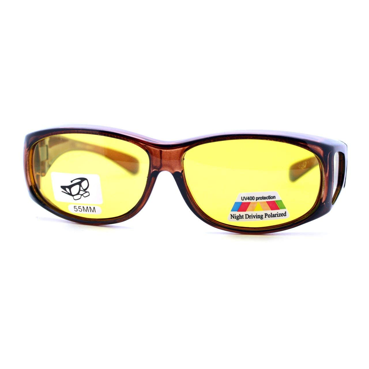 e9afe20a5dcd Get Quotations · Fit Over Small Glasses Polarized Night Driving Yellow Lens  Sunglasses Brown