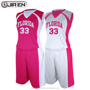 Sublimated basketball jersey design color pink basketball uniform